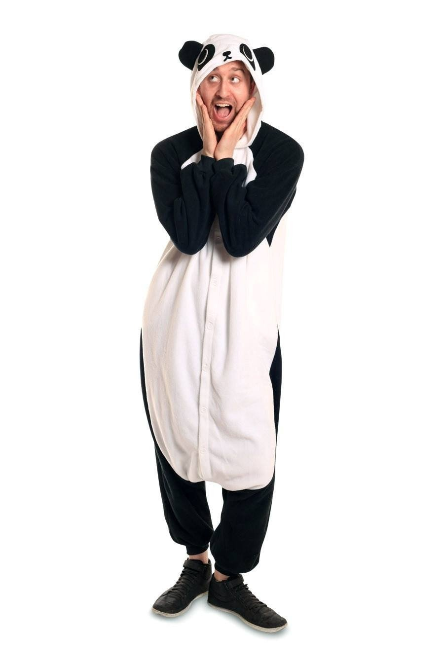 Unisex Fleece Adult Panda Onesies Animal Cosplay Costume Halloween Xmas Pajama