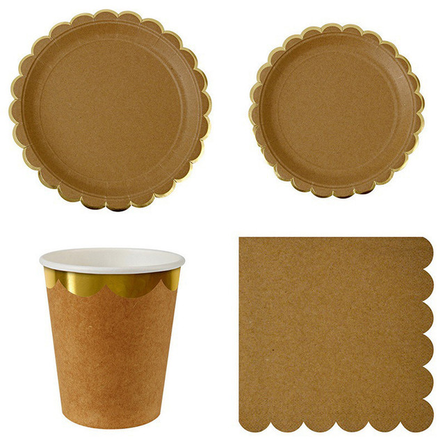 Pure Kraft Paper Themed Disposable Tableware Set Paper Plates Cups Napkins Party Wedding Carnival Tableware Supplies  sc 1 st  AliExpress.com & Pure Kraft Paper Themed Disposable Tableware Set Paper Plates Cups ...