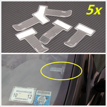 5 stks Auto Styling Parkeerplaats Ticket Clip Auto Fastener Card Bill Houder Organizer Voorruit Stickers 75x40mm Mayitr(China)