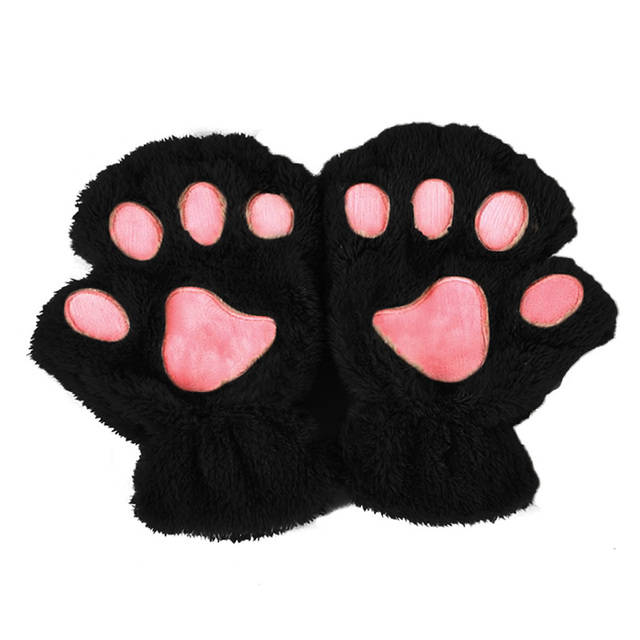 Winter Women Cute Cat Paw...