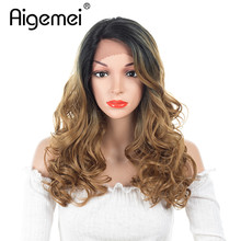 цена на Aigemei 16inch Curly Wigs 150 Density Synthetic Lace Front Wig Heat Resistant Hair Ombre Burgundy Wigs Natural Hairline