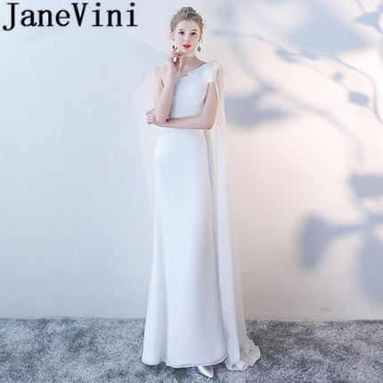 JaneVini White Mermaid One Shoulder Long Bridesmaid Dresses Floor Length Backless Satin Dress For Party Wedding Guest Prom Gowns