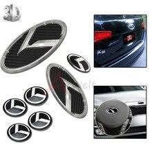 7 pçs 3d fibra de carbono cromo carro-estilo velocidade emblemas emblema kit (grade tronco volante 4 jantes) para 2011-2014 kia optima k5