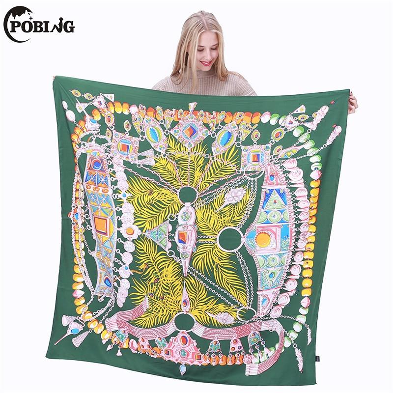 POBING 100% Silk   Scarf   Women Spain Crown Print Square   Scarves     Wraps   Indian Feather Silk Foulard Bandanas Femme Echarpes 130CM