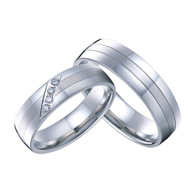 1 para high end handgemacht kunden silber weiß gold farbe hochzeit ringe sets für männer und frauen reine titanium stahl schmuck - 2