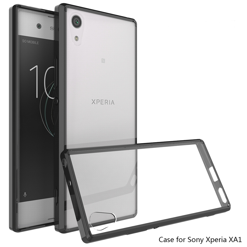 Caso Quadro Híbrido Capa À Prova de Choque Almofada de Ar quente Com Cristal De Acrílico Transparente Voltar Shell Para Sony Xperia XA1 5.0
