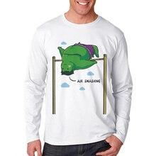 Men T Shirt Basic White Cotton Long Sleeve Cartoon Hulk Print Funny T-Shirt O-Neck Hip Hop Hipster Mens Tee Shirts