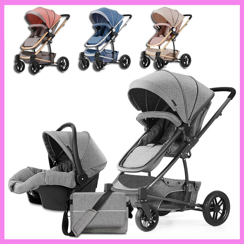 Luxury Newborn Baby Child High View 3 In 1 Four Wheel Portable Jogging Baby Stroller Pram Sleeping Cradle Multiple Car Stroller