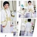 Классический дизайн вышивки дети смокинги красивый мальчик Nomal пром костюмы ( куртка + брюки + галстук-бабочка + пояс ) нет : 083