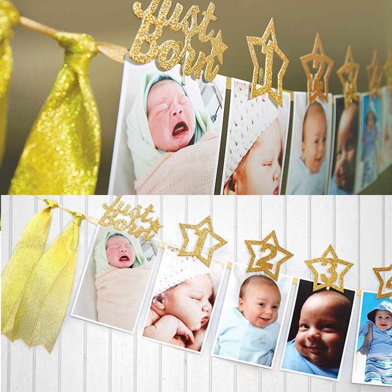 Image 2 - Baby 1st Birthday Boy Girl Star Gold 12 Month Photo Banner I AM ONE Photo Booth Banner My First Birthday Party Decorations Kids-in Banners, Streamers & Confetti from Home & Garden