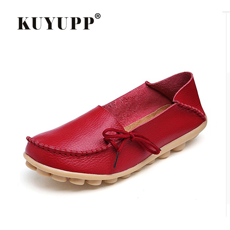 KUYUPP Causal Shoes Genuine Leather Women flats Large size Mother shoes zapatos mujer lace-up girl shoes espadrilles YDT179 women genuine leather shoes for mother loafers new casual oxfords plus size soft comfortable flats sapato feminino zapatos mujer