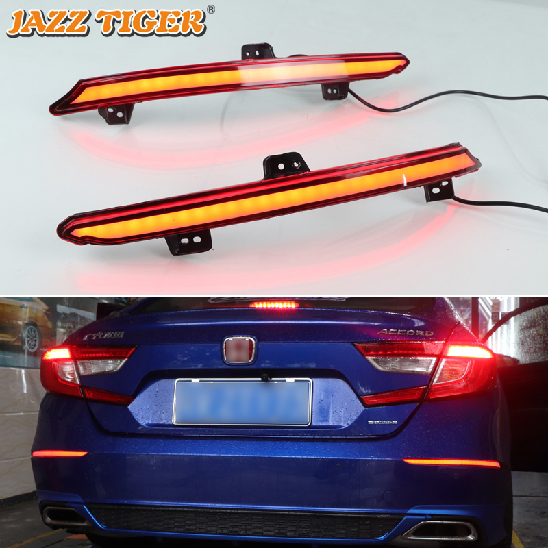 JAZZ TIGER 2PCS Car LED Rear Fog Lamp Brake Light Dynamic Turn Signal Light Bumper Decoration