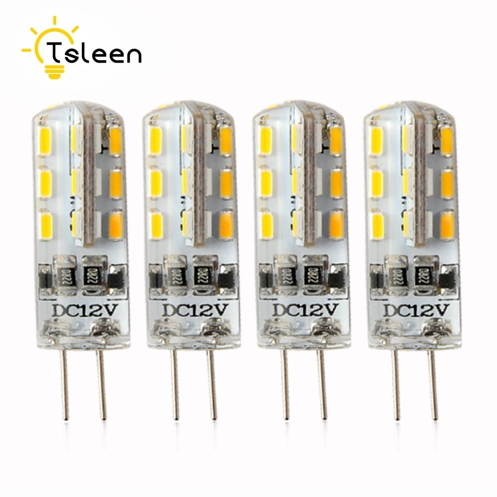 TSLEEN 1/4/8pcs/lot G4 Good Quality LED Lamp Ultra Bright 12vAC DC 3W 5W 24 48 leds 3014SMD Corn Bulb Cold Warm White Light