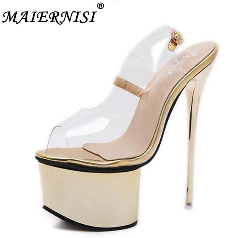 7507f3082 2019 женская обувь на платформе Женские босоножки сандалии на высоком  каблуке 17 см пикантные Босоножки с открытым носком прозрачная модель ж.