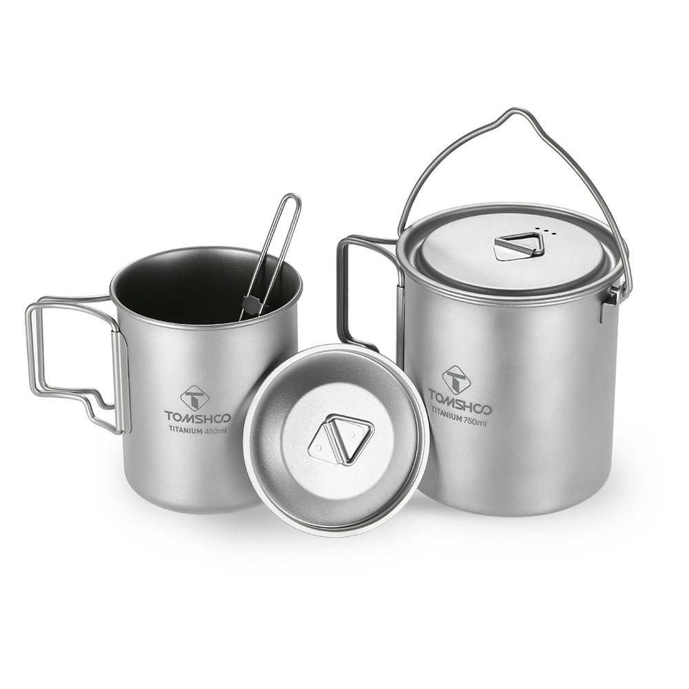 TOMSHOO 3 Pieces Set Titanium 750ml Pot 450ml Water Cup Mug with Lid Collapsible Handle Folding