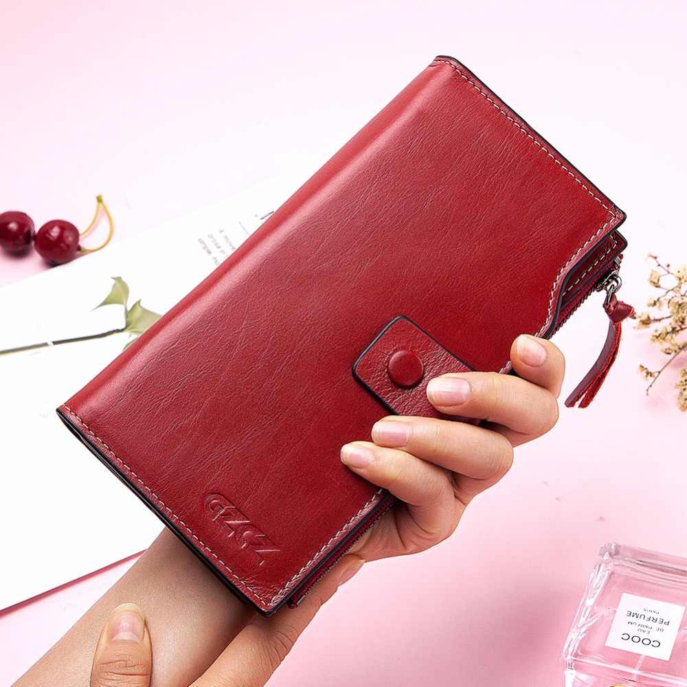 GZCZ 2019 New Women's Genuine Leather Wallets Female Long Zipper Coin Purse Fashion Cell Phone Pocket Purse Women Bag Portomonee