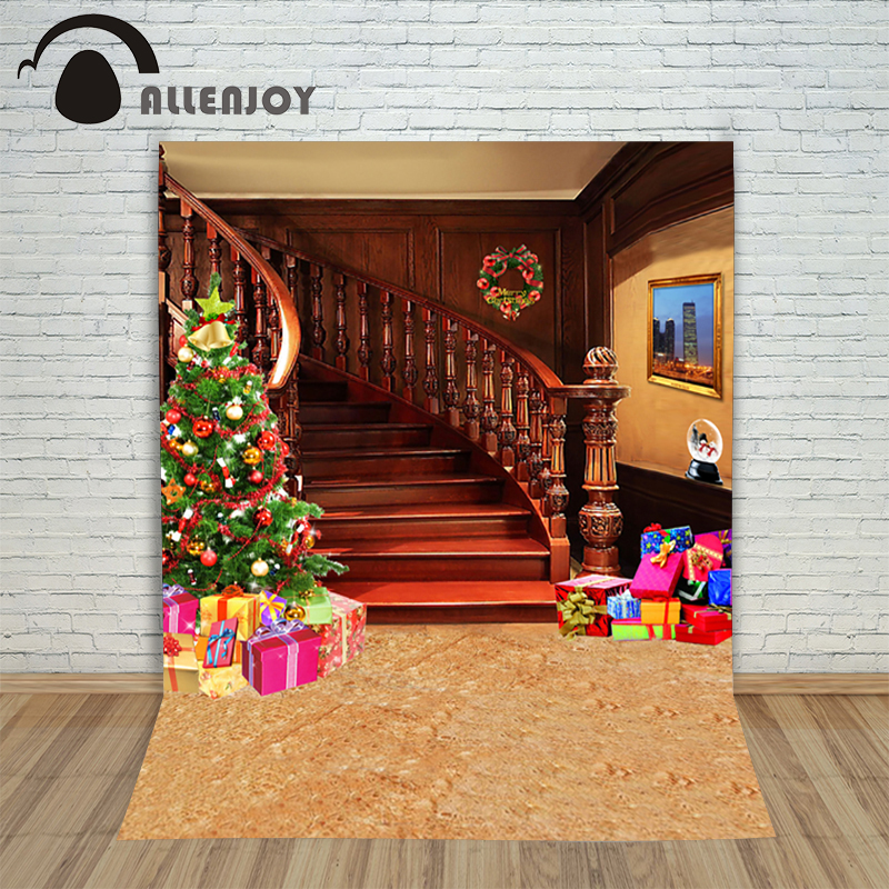 New Christmas backgrounds for christmas photo studio Tree gift stairs wreath kid photocall wonderland happy photography backdrop