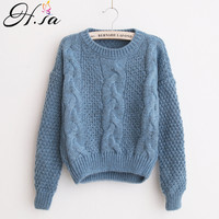 H SA Winter Warm Sweaters And Twisted Pullovers Women Casual Short Feminino Knitted Sweater Jumpers Cheap