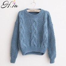 H SA invierno cálido suéteres y retorcido suéteres casuales de las mujeres  corto Feminino de suéter 5c6af1d41511