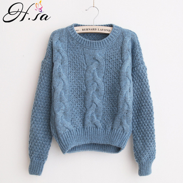 H.SA Winter Warm Sweaters and Twisted Pullovers Women Casual Short Feminino  Knitted Sweater Jumpers Cheap Sweaters China sueter ba03e0c45