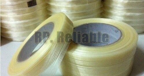 Бесплатная доставка! 5 рулонов 25 мм * 25 м клей Волокно стекло Клейкие ленты, Волокно Клейкие ленты для упаковки, уплотнения, homeappliance закрепить, модель с фиксированным