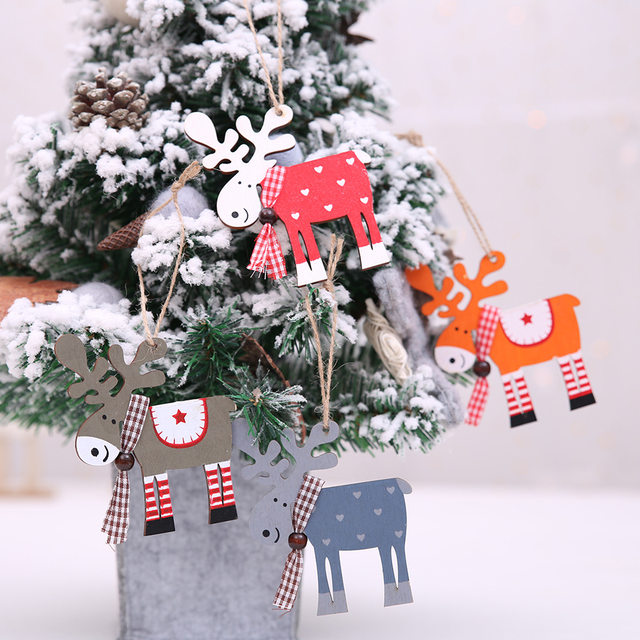 2020 Xmas Letters Elk Tree Wooden Sign Christmas Decoration for Home Pendant Hanging Ornament New 14