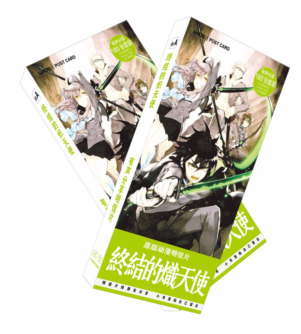 180pcs/Set Anime Seraph Of The End Paper Postcard/Greeting Card/Message Card/Birthday Letter Envelope Gift Card