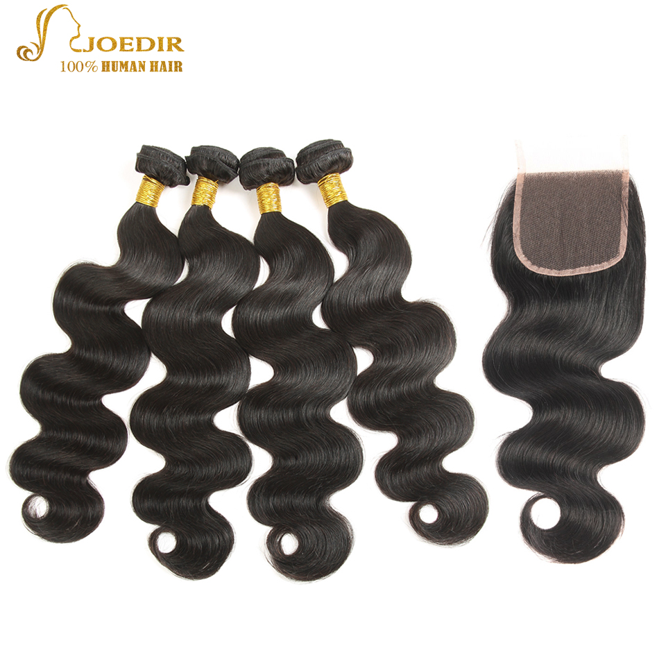 Joedir Peruvian Body Wave Bundles with Closure Free /Middles/Three Part Closure Natural Color Hair Extensions with Lace Closure