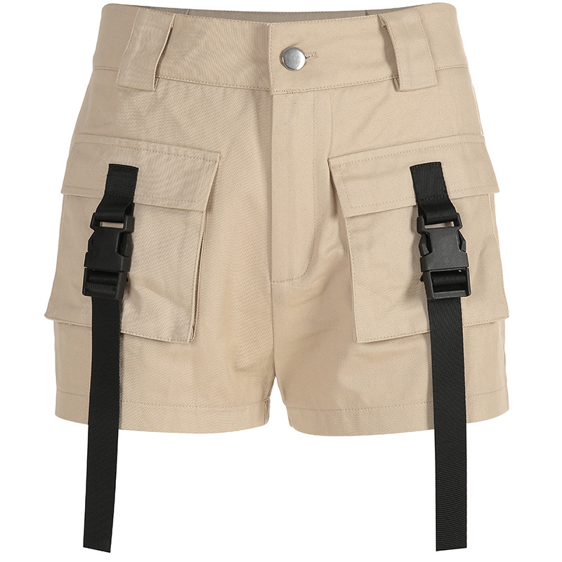 HTB1ItedbvvsK1Rjy0Fiq6zwtXXai - Spring Summer High Waist Shorts With Buckle Ribbon Khaki Korean Street Style Cotton Short Feminino Cargo Shorts