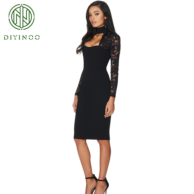 bc59f3d06a1 DIYINOO 2019 New Style Long Sleeve Lace Solid Black White Sheath Elegant One -piece Party Dresses