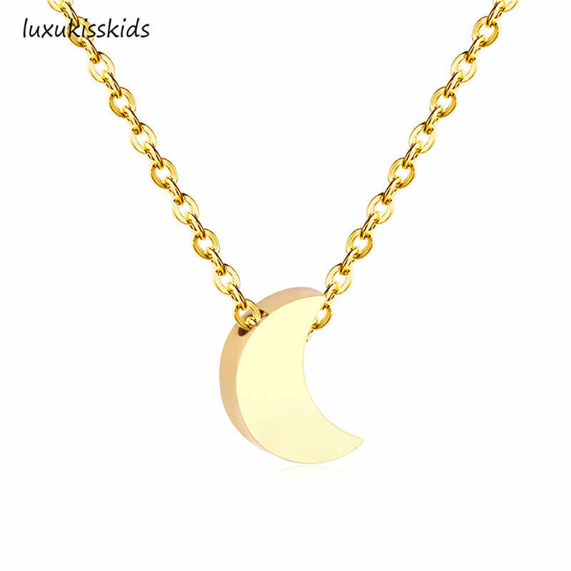 LUXUKISSKIDS Heart/Moon/Cross/Star Pendants Necklaces 316L Stainless Steel Choker Link Chain Gold Necklace For Women/Men Jewelry