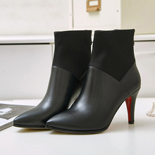 Women's Sexy Red Bottom High Heel Ankle Boots Brand Designer Pointed Toe Genuine Leather Short Booties Fall Winter Shoes Women