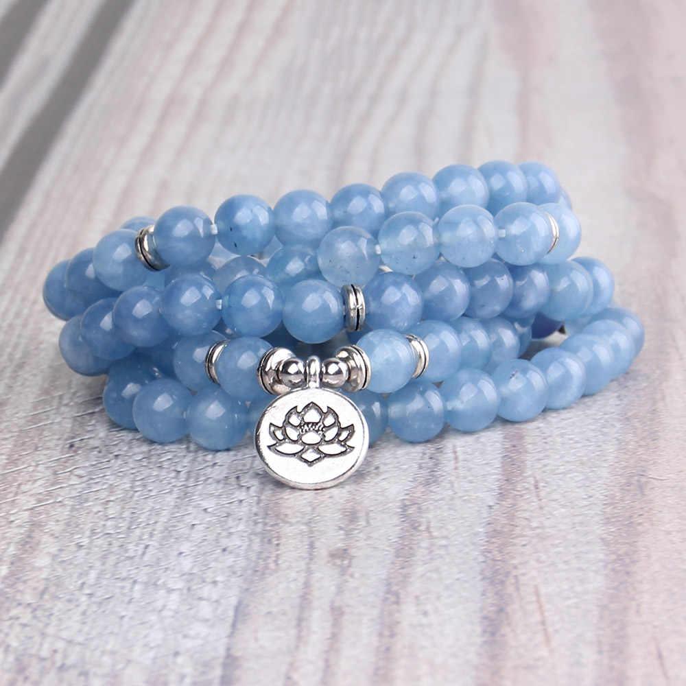 Kecil Minglou Mewah Biru Batu Alam 108 Mala Lotus Gelang atau Kalung Reiki Dikenakan Buddha Rosario Gelang