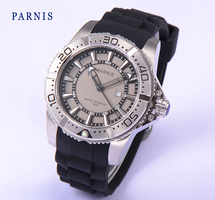 45mm Parnis Stainless Steel Case Men's Quartz Watch White Dial Water Resistant 100M Rubber Strap Men Watches фото