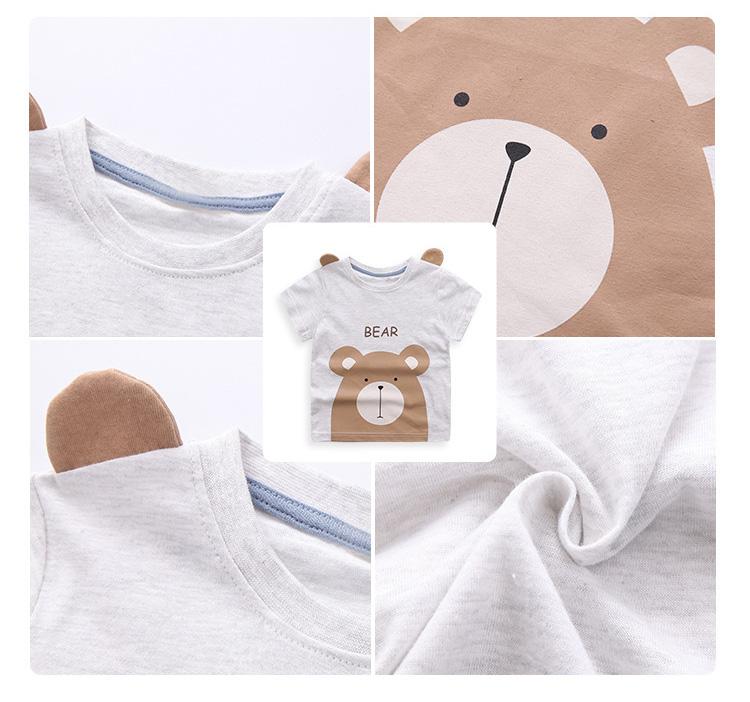 HTB1ItfASFXXXXb6XVXXq6xXFXXXB - Cute Summer New Girls Boy T-shirt Children's Bottom Kids Lovely 3D Animal Cartoon Shirt Baby Clothes, Dinosaur/ Bear/ Elephant