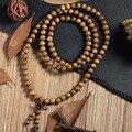 108*8mm Tibetan Buddhist For Men Natural Green Sandalwood Prayer Malas Fashion Wooden Beaded Necklace Bracelets P3