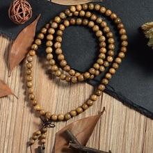 108*8mm Tibetan Buddhist For Men Natural Green Sandalwood Prayer Malas Fashion Wooden Beaded Necklace Bracelets