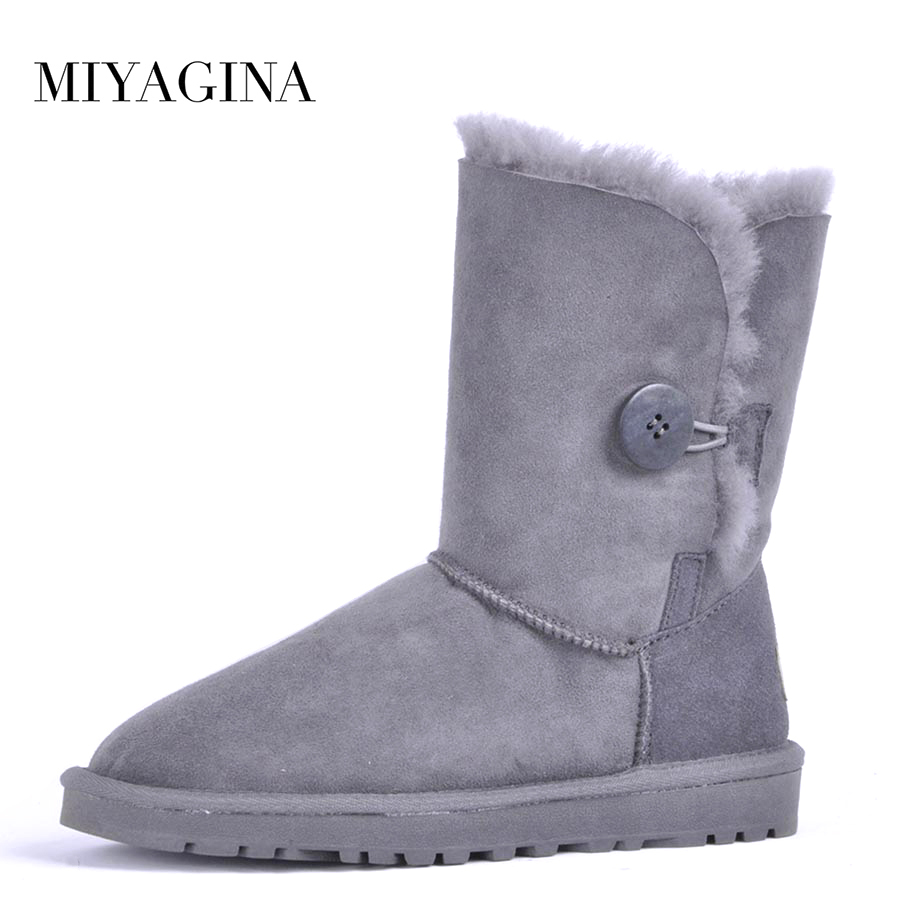 Top Quality 2018 New Fashion 100% Genuine Sheepskin Leather Snow Boots Natural Fur Warm Wool Women Boots top quality 2018 new fashion women 100