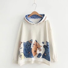 Japanese Women Lace Splicing Tassel Cute Cat Hoodie