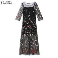 ZANZEA 2017 Summer Women Dress Sexy Vintage Embroidery Floral Mesh Patchwork Maxi Long Dresses Casual Vestidos