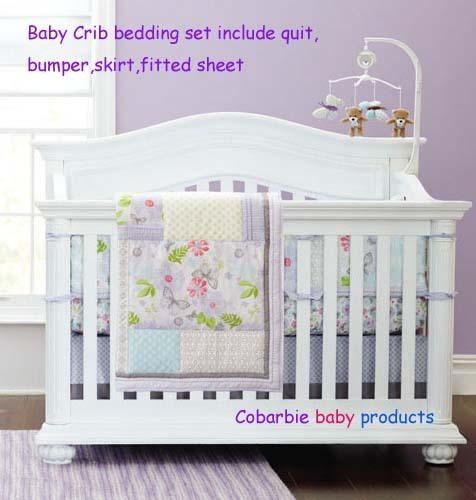 7 unidades bebé recién nacido cuna bedding set para niñas, de algodón reactiva y 3d bordado calidad cuna bedding, mariposa púrpura