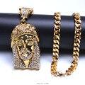 """Collar de los hombres de Hip Hop de la joyería Chapado En Oro de jesús de 29.5 """"pulgadas Collar de Cadena Cristalino de Bling Accesorios de Moda"""