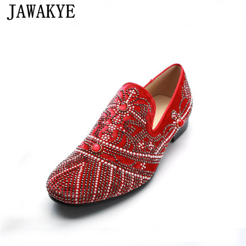 Luxurious Jeweled Sequins Men Wedding Shoes Red Black Round Toe Real Leather Flat Shoes Bling Bling Diamond Rhinestone Shoes MenLuxurious Jeweled Sequins Men Wedding Shoes Red Black Round Toe Real Leather Flat Shoes Bling Bling Diamond Rhinestone Shoes Men