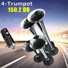 Best Price Universal High Quality Durable 150.2db Silver Chrome Plated Zinc Alloy 4-Trumpet Train Air Horn Kit