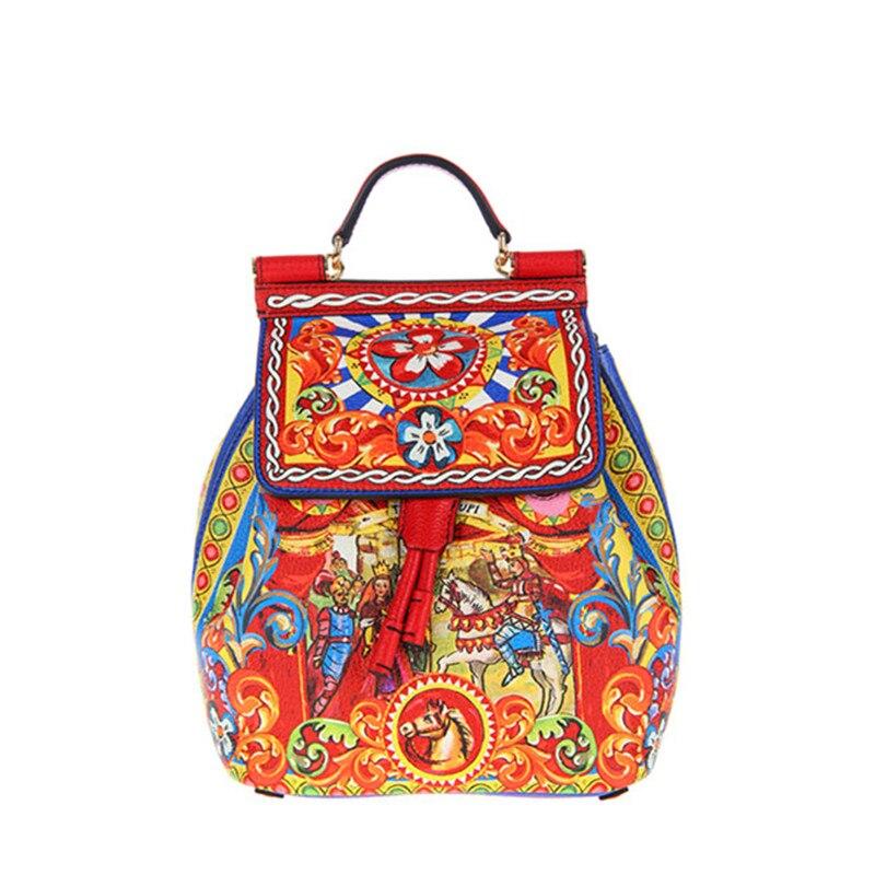 Design Original haut de gamme de luxe! Sacs à dos imprimés classiques romains en cuir véritable pour femmes sacs à bandoulière de marque Famosu italie