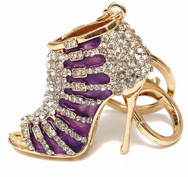 High Heeled Rhinestone Women Crystal Keychain Purse Pendant Bags Cars Shoe Ring Holder Chains Key Rings For Women Gifts