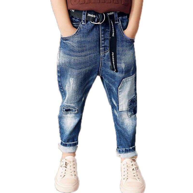 2018 Mode Herbst Kinder Denim Hosen Mit Blets Junge Jeans Patchwork Jungen Hosen Pioneer Fleece Teenager Junge Winter Hosen Moderne Techniken