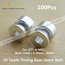 100Pcs GT2 Pulley 20 Tooth 20tooth Bore 5mm 6.35mm 8mm teeth MXL Timing Gear Alumium For 2GT belt Width 6mm For 3D printer parts