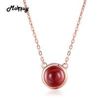 Mobuy MBNI026 простой Стиль красный камень гранат ожерелье и кулон 925 Цвет серебристый, Золотой покрытием ювелирных украшений для женщин