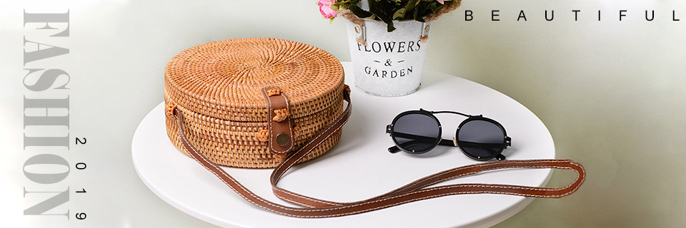 Bali Vintage Handmade Crossbody Leather Bag Round Beach Bag Girls Circle Rattan bag Small Bohemian Shoulder bag 1
